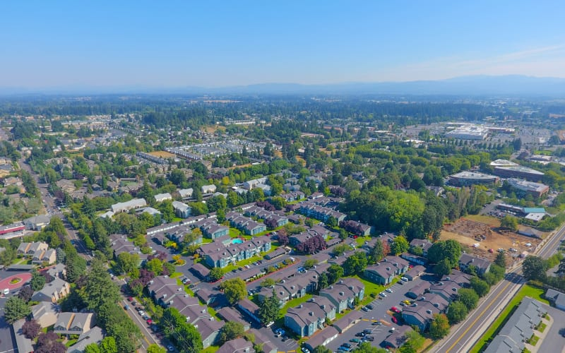 Aerial view of the property at Walnut Grove Landing Apartments in Vancouver, Washington