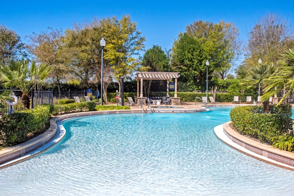 Beautiful swimming pool at Provenza at Southwood in Tallahassee, Florida