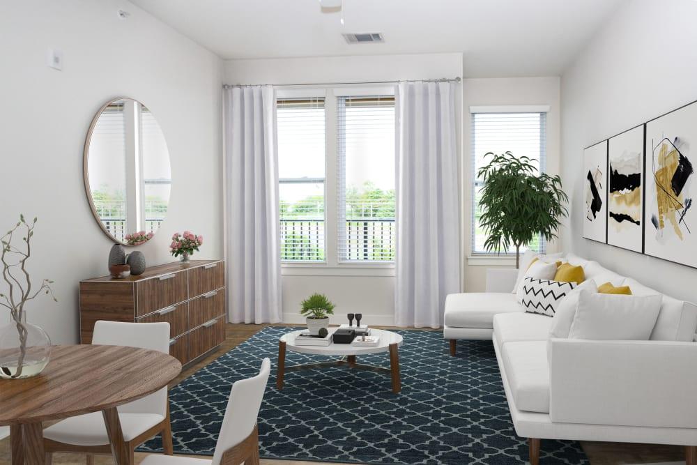 Model living room at 300 Optimist Park in Charlotte, North Carolina