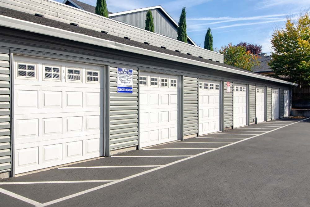 The detached garages at The Addison Apartments in Vancouver, Washington