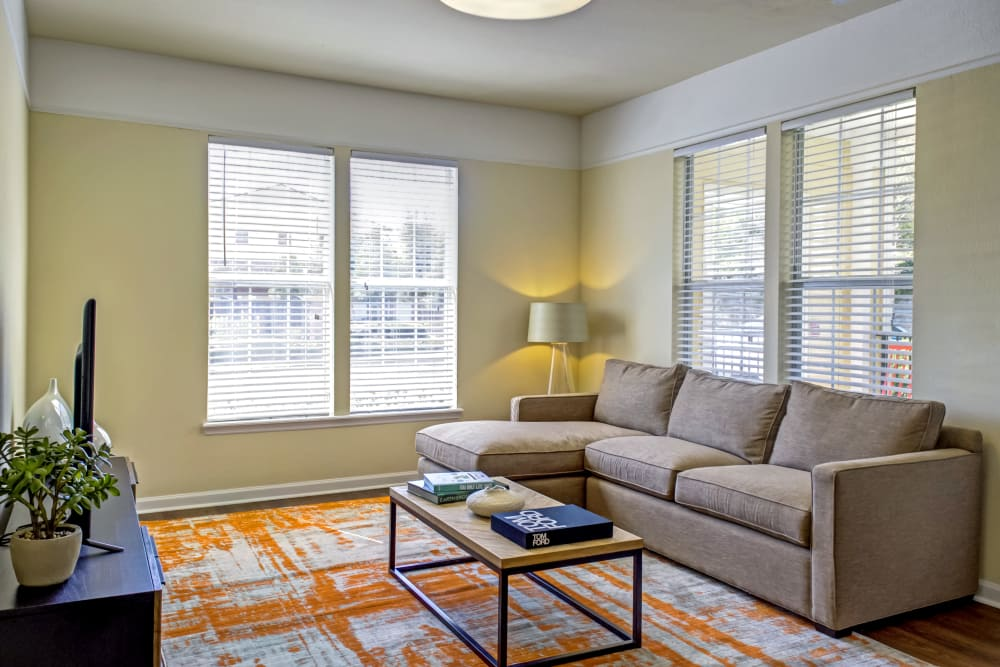 Bright living room at Provenza at Southwood in Tallahassee, Florida