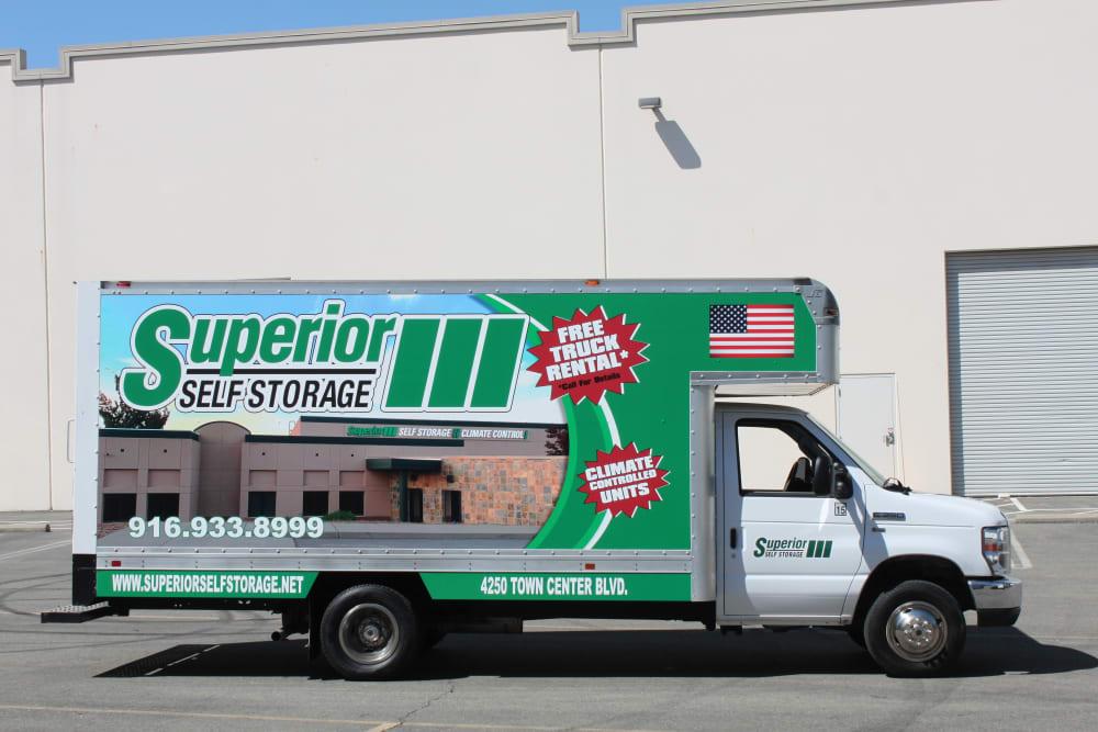 A moving truck at Superior Self Storage in El Dorado Hills, California
