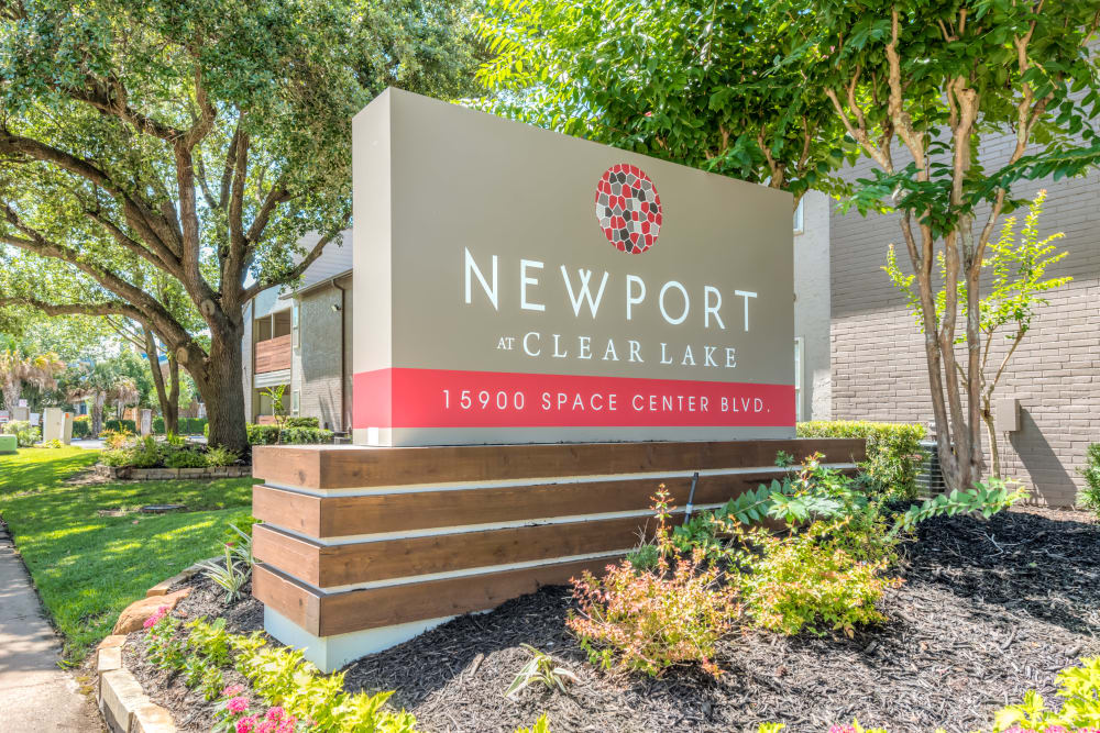 Beautiful entry signage at Newport at Clear Lake in Houston, Texas