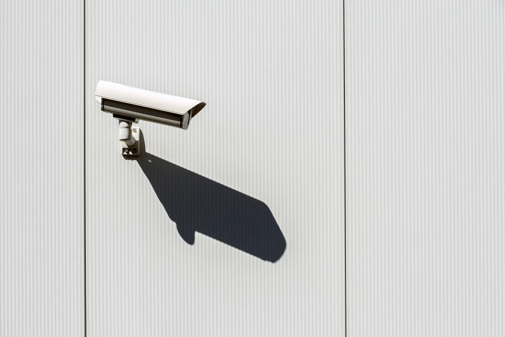 A security camera mounted on the wall at Storage Etc... Salt Lake South in Salt Lake City, Utah