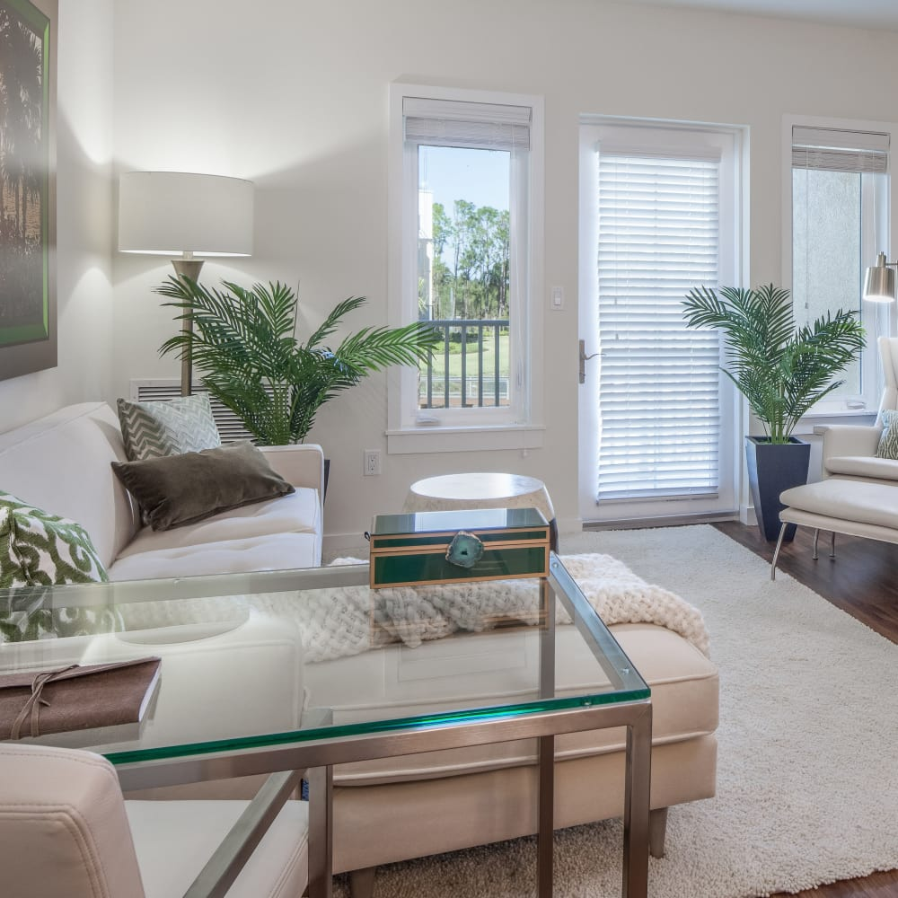 Bright, comfortable living room at All Seasons Naples in Naples, Florida