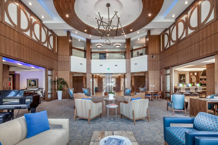 Main lounge area at All Seasons Naples in Naples, Florida