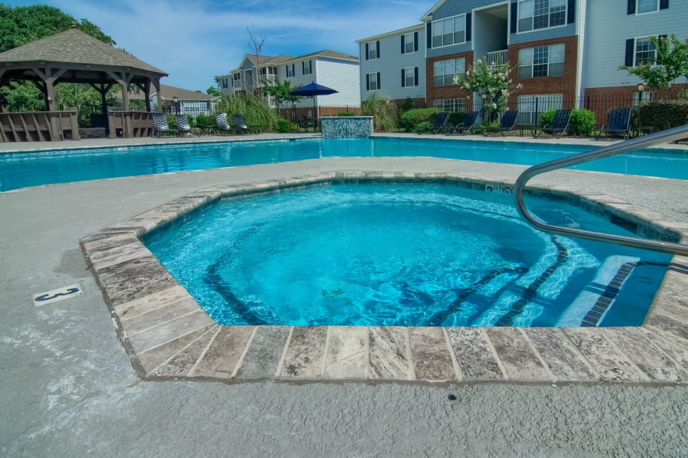 Luxury swimming pool and hot tub at The Grove in Biloxi, Mississippi