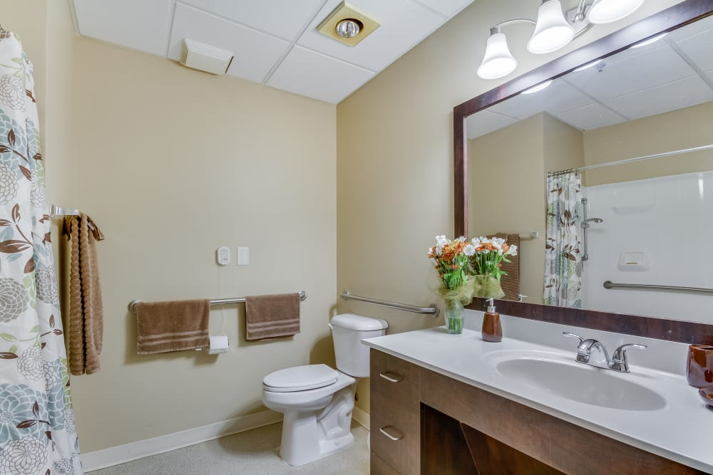 An apartment bathroom at Magnolias of Chesterfield in Chester, Virginia