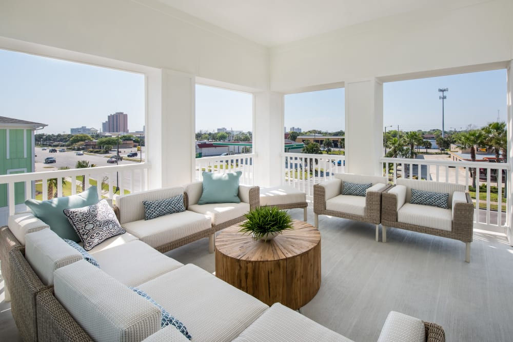 Model living area at BluWater Apartments in Jacksonville Beach, Florida