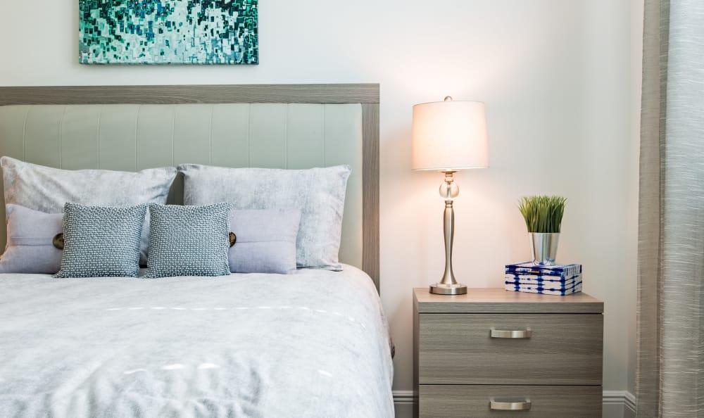 Cozy bedroom at Luma at Miramar in Miramar, Florida