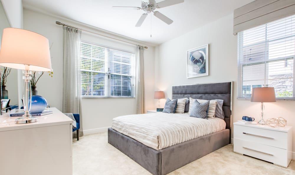 Model bedroom at Luma at Miramar in Miramar, FL