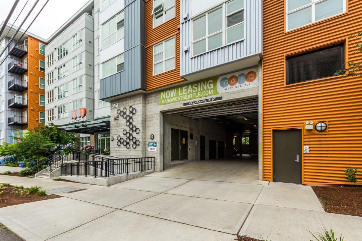 Parking garage entrance at Marq West Seattle in Seattle, Washington