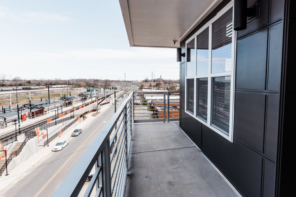 Balcony view of neighborhood at Alta Warp + Weft in Charlotte, North Carolina