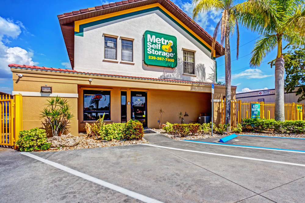 Leasing office entrance at Metro Self Storage in Fort Myers, Florida