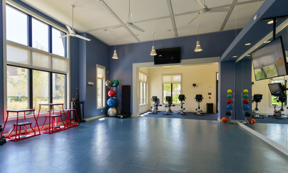 Spacious yoga room in the fitness center at Cabana Club and Galleria Club in Jacksonville, Florida