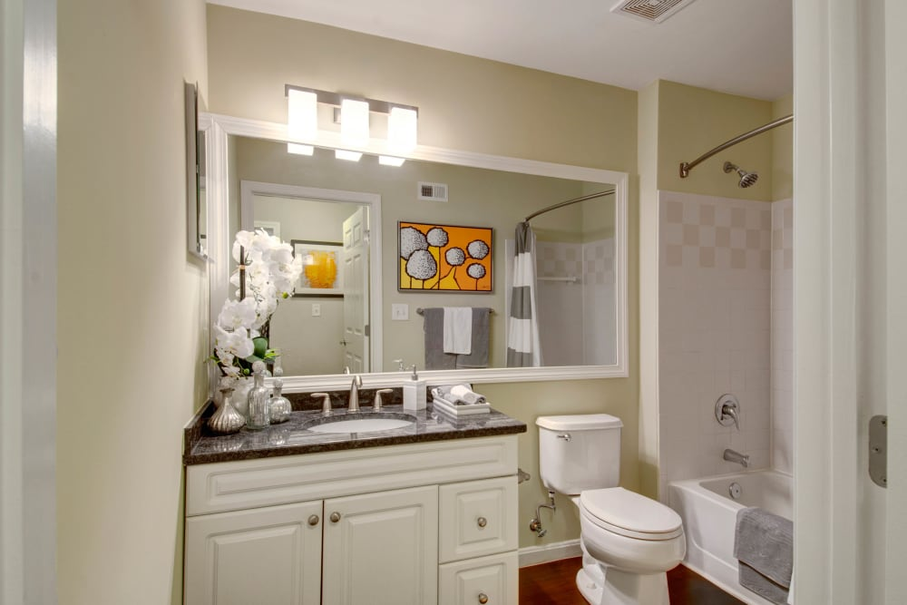 Bright bathroom at Ellington Metro West in Westborough, Massachusetts