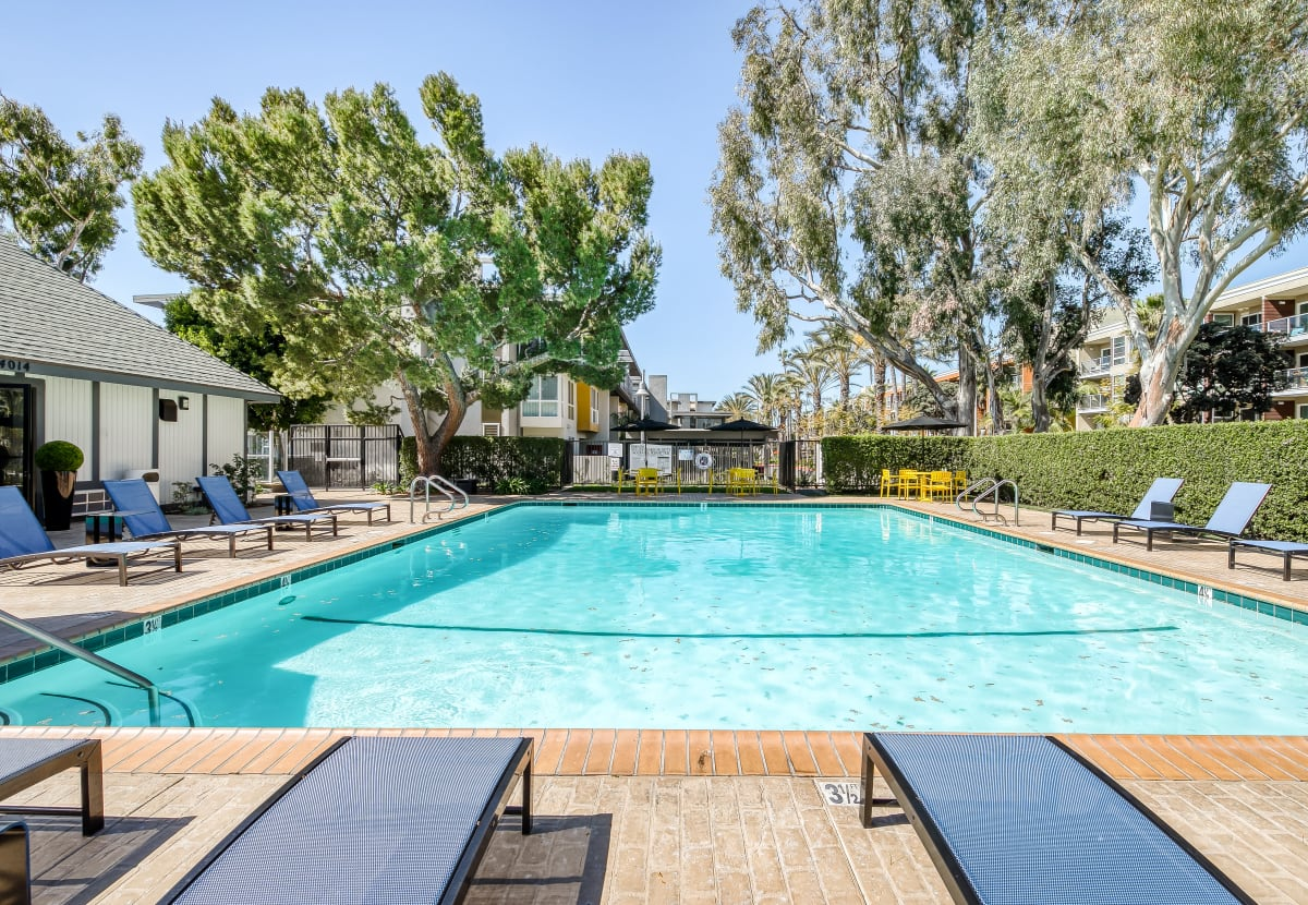 Resort-style swimming pool at Marina Harbor in Marina del Rey, California