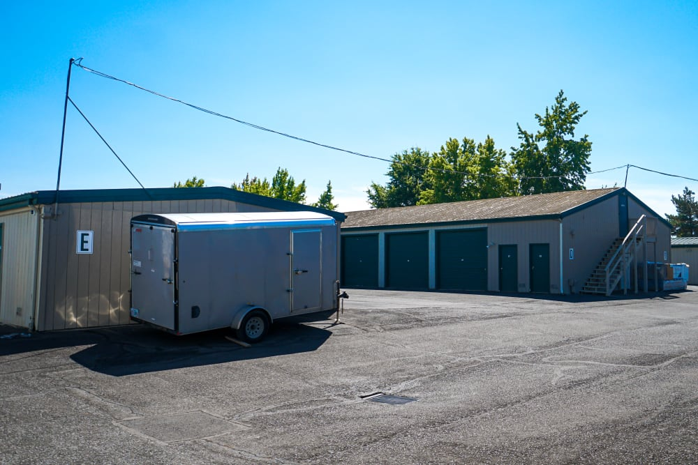 An trailer stored at Security First Storage in Salem, Oregon