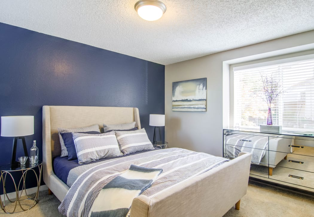 Master bedroom in model home at Montair at Somerset Hill in Tumwater, Washington