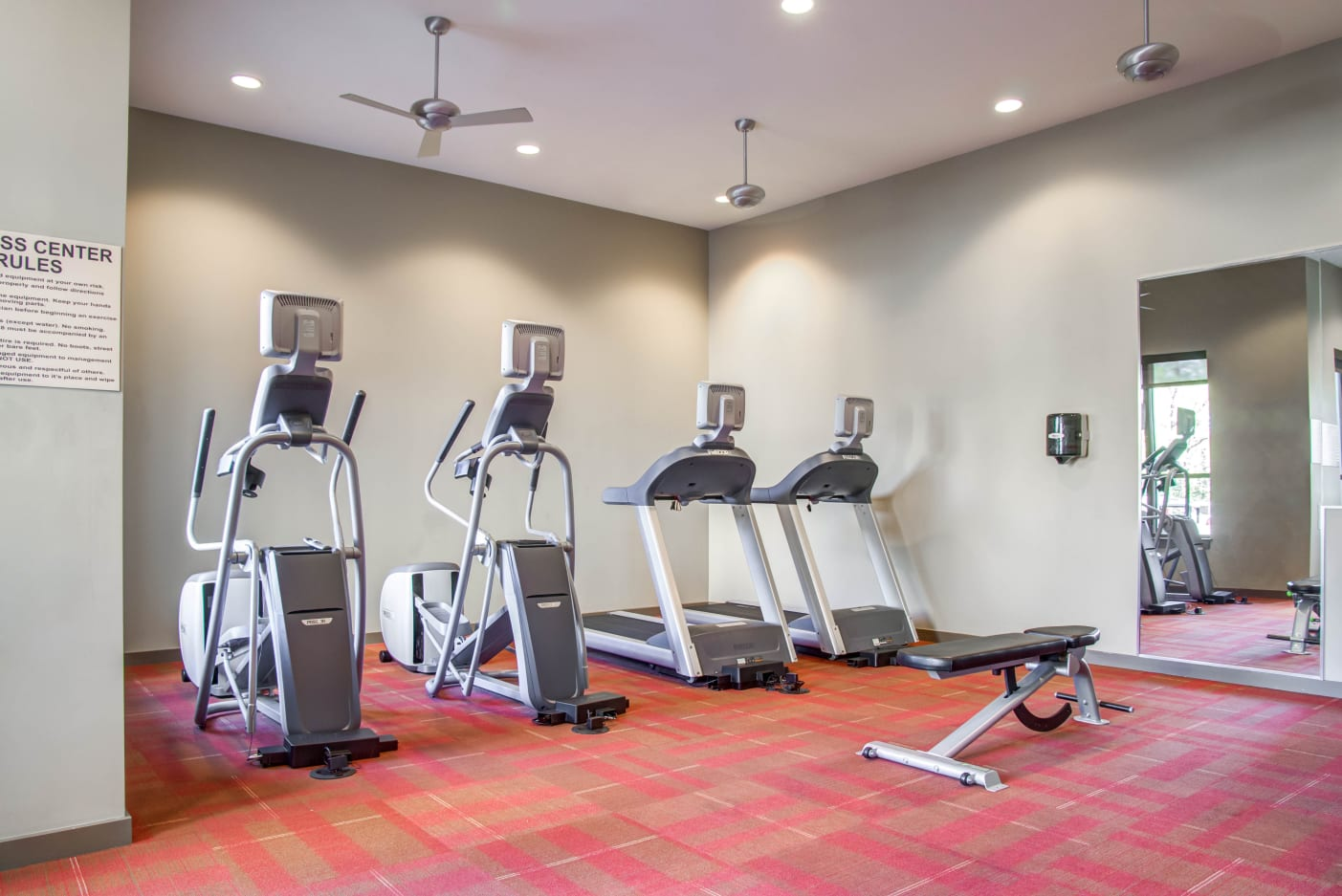 Fitness center for residents at 12 South Apartments in Nashville, Tennessee