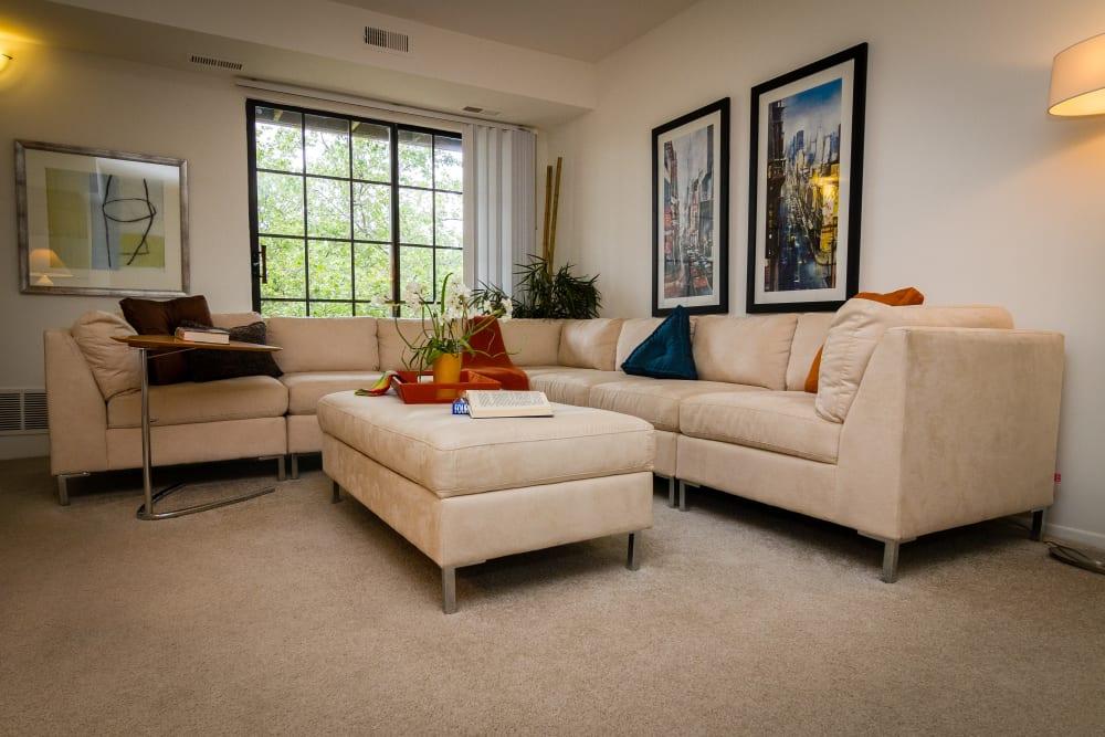 Spacious living room in model home at Saddle Creek Apartments in Novi, Michigan