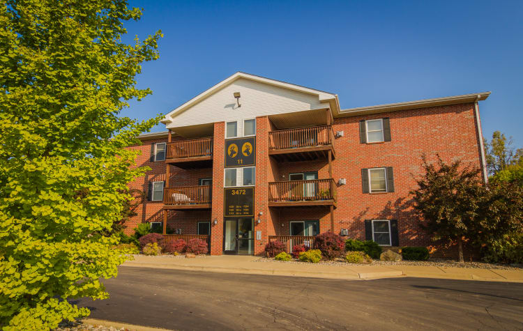 Brick apartment buildings at Creek Club Apartments in Williamston, Michigan
