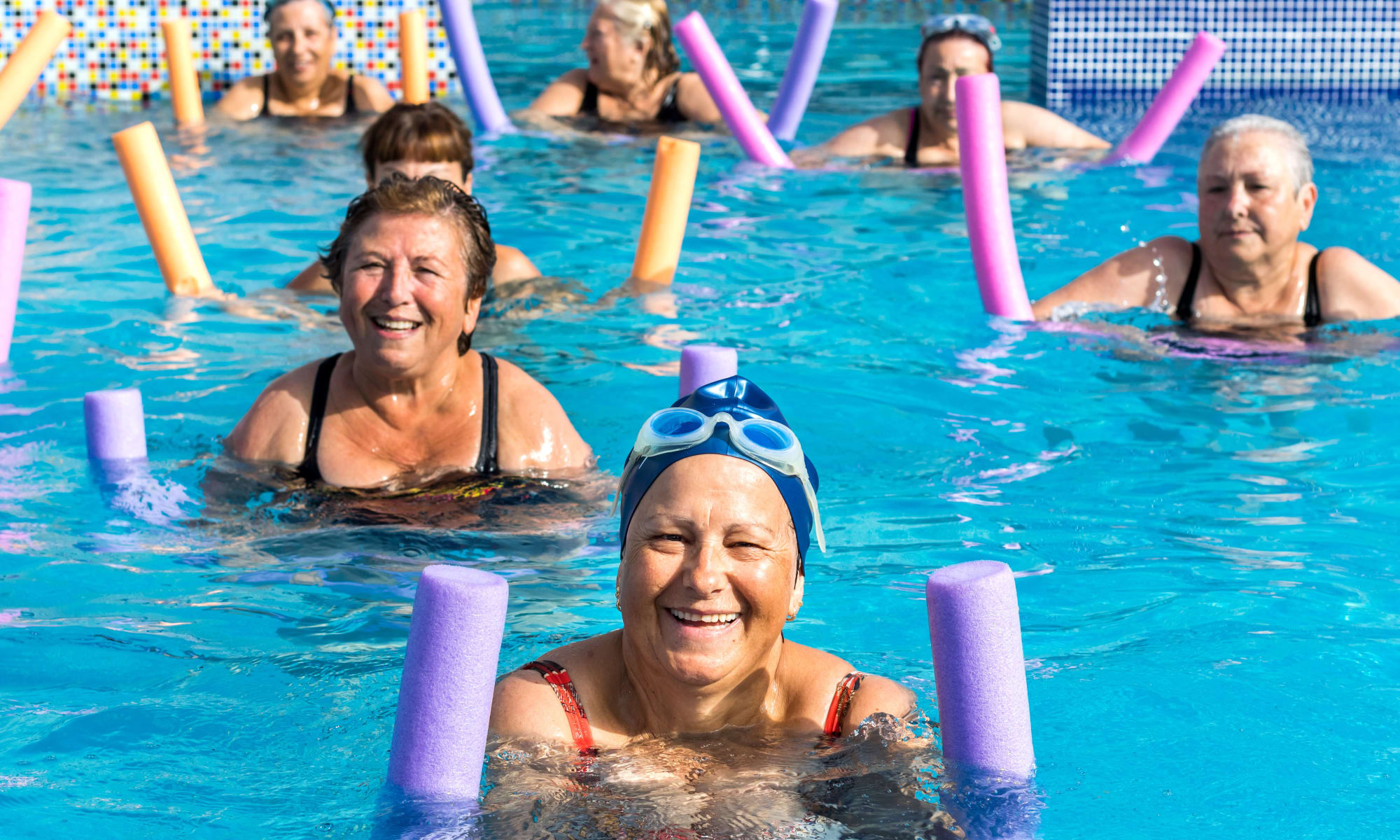 Group of senior women at aqua gym session at The Park at Modesto