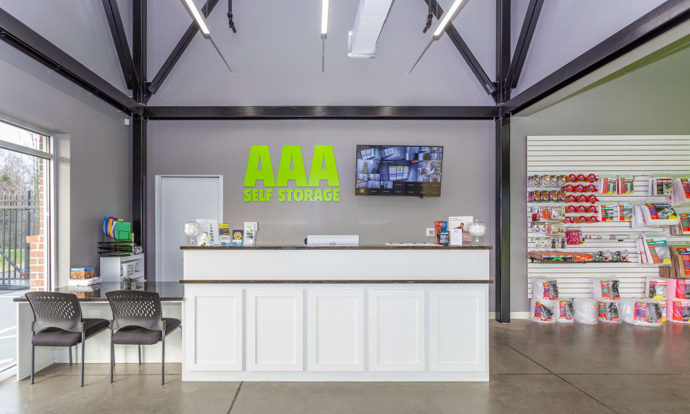Leasing office and merchandise at AAA Self Storage at Eastchester Dr in High Point, NC