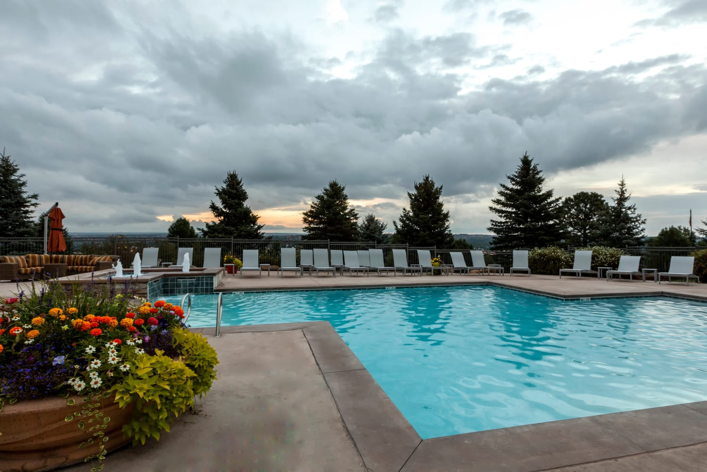 Pool views at Resort at University Park in Colorado Springs
