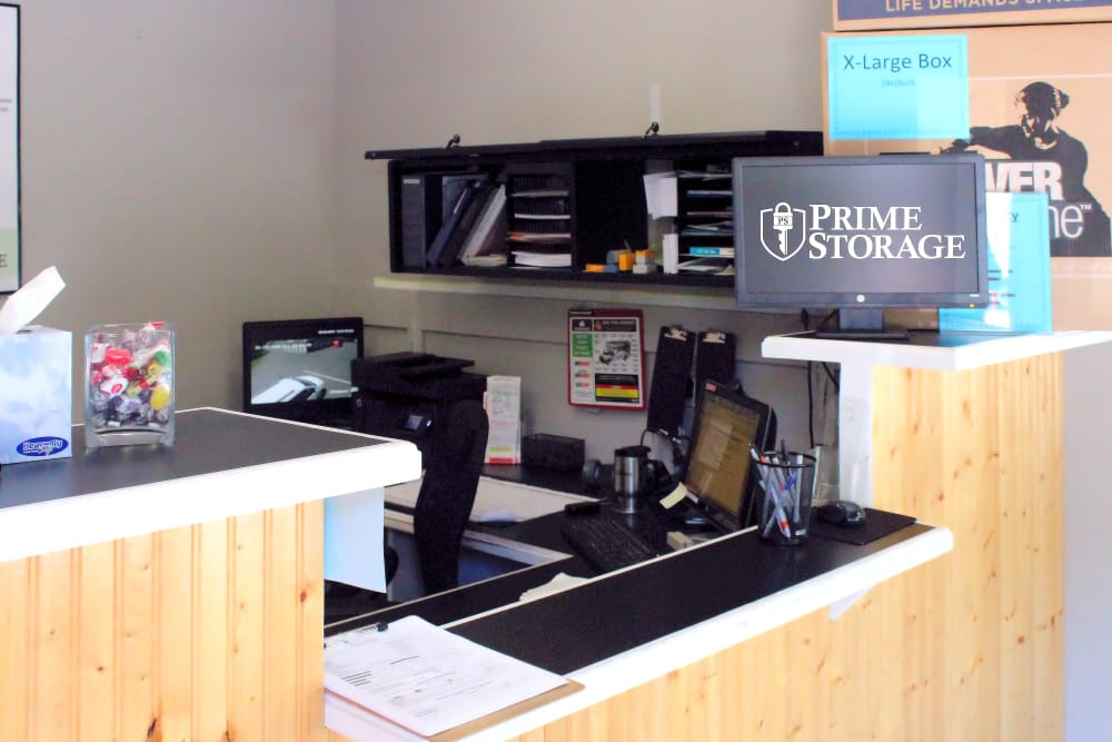 Front desk at Prime Storage in Arundel, Maine