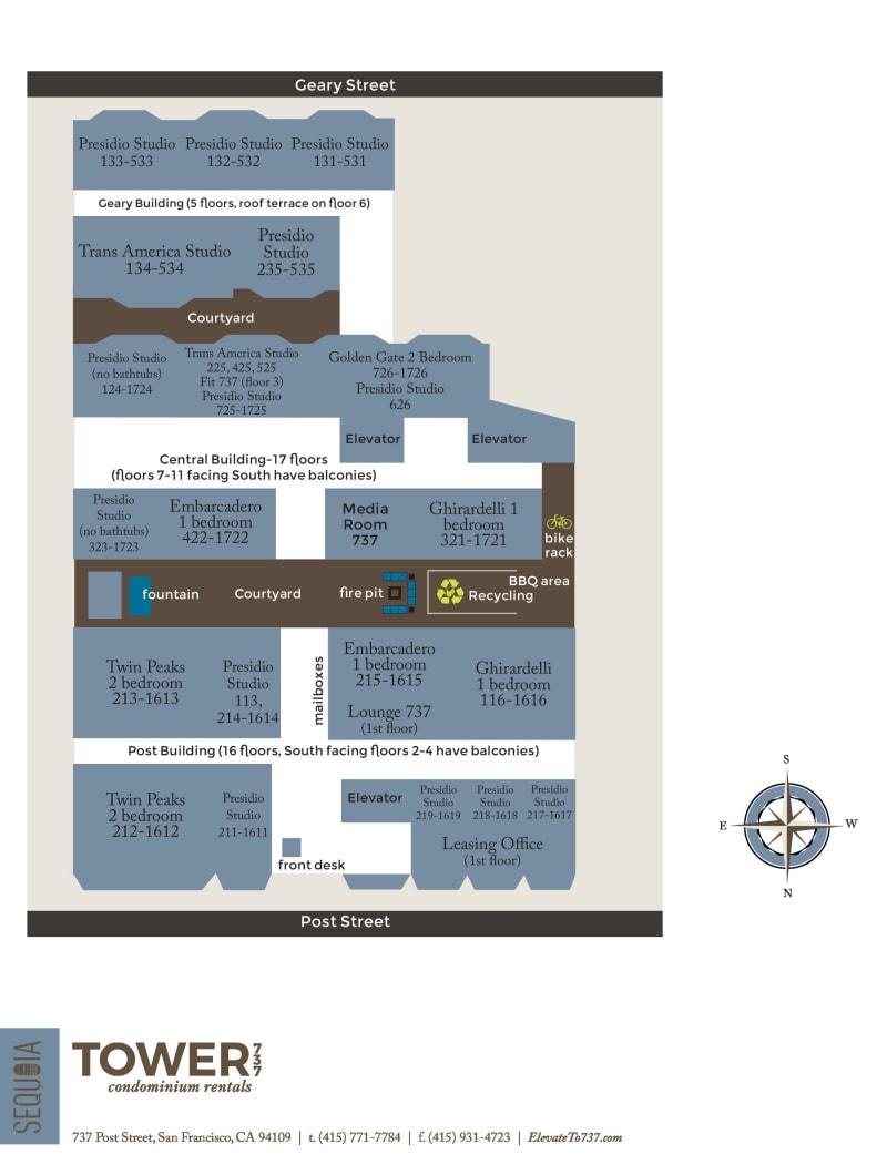 Community map of Tower 737 Condominium Rentals