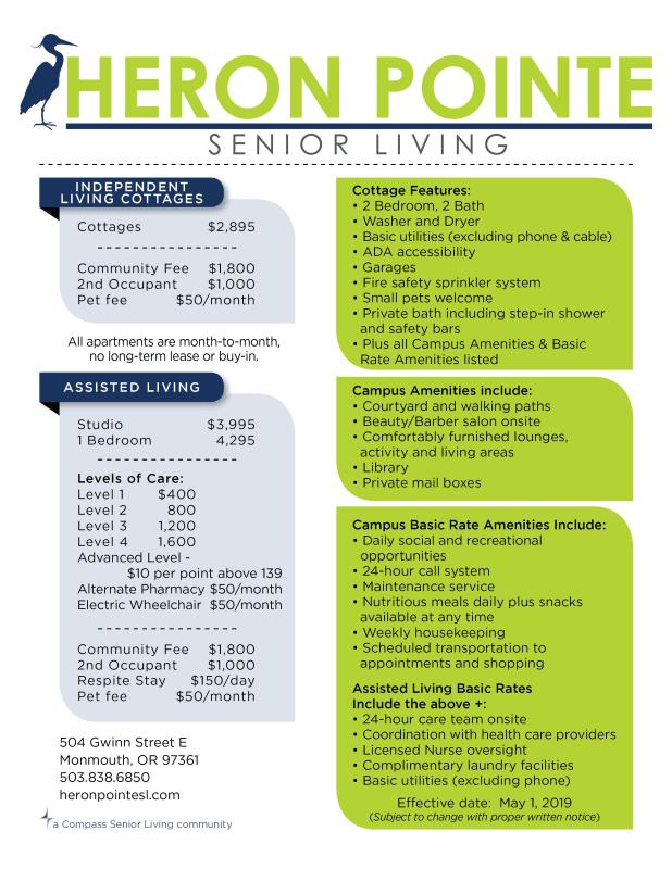 Rates | Heron Pointe Senior Living