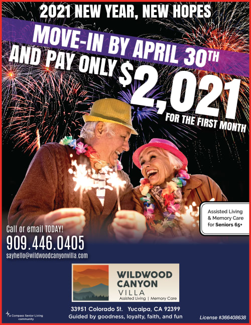 2021 April Special for Wildwood Canyon Villa Assisted Living and Memory Care