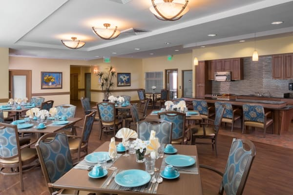 The community dining room at Avenir Memory Care at Chandler in Chandler, Arizona