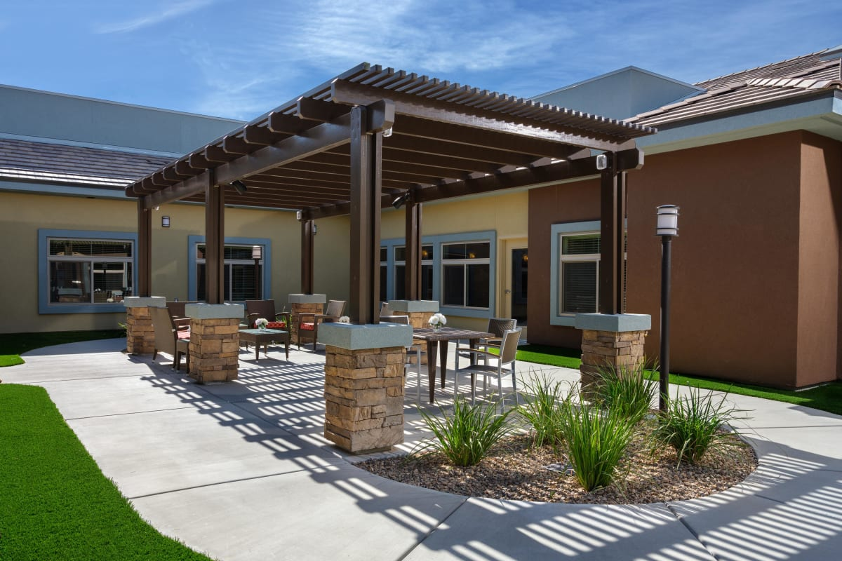 Outdoor dining area at Avenir Memory Care at Summerlin in Las Vegas, Nevada.