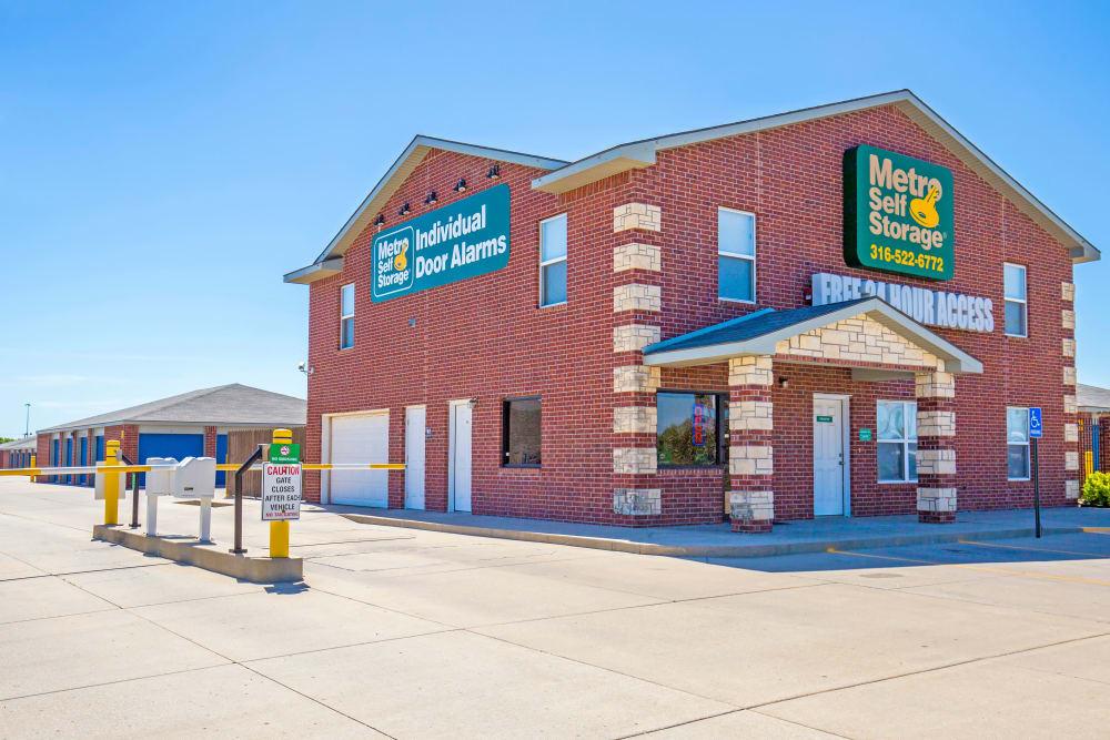 Leasing office exterior view at Metro Self Storage in Wichita, Kansas