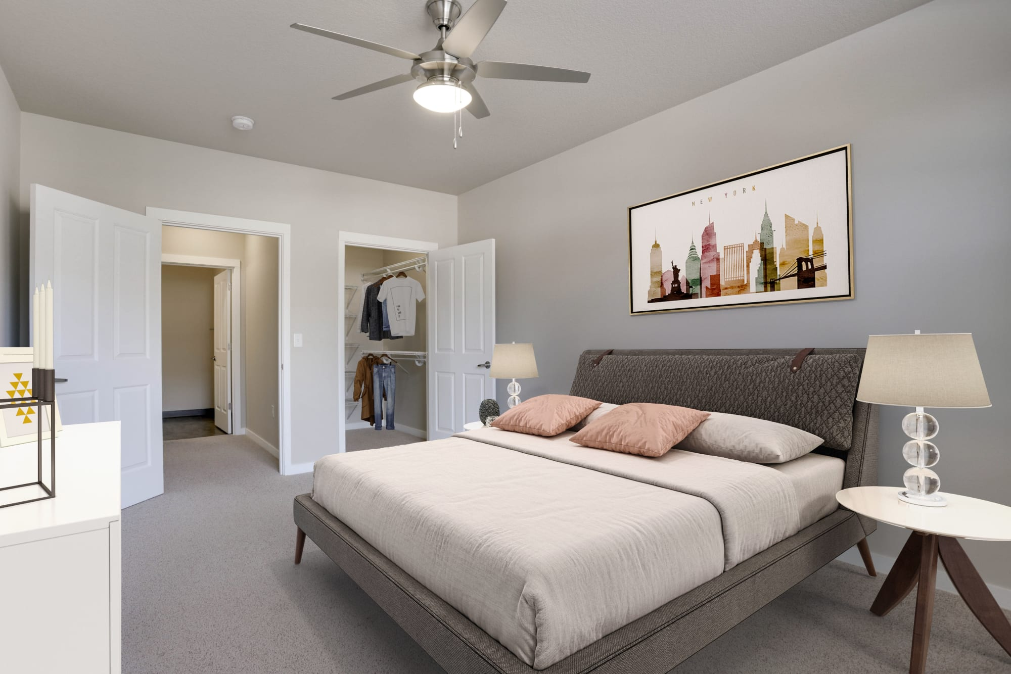 Master bedroom and an oversized closet at Terrene at the Grove in Wilsonville, Oregon