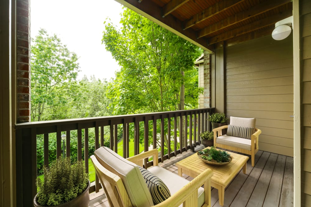 Comfortable seating on a patio at The Grove at Orenco Station in Hillsboro, Oregon