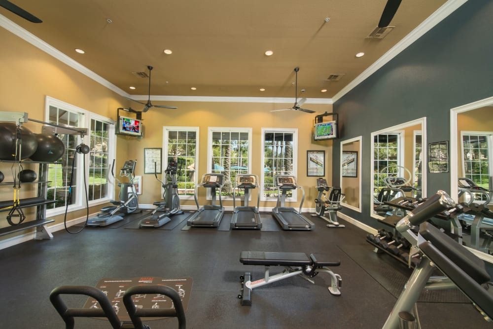 Onsite fitness center at Esplanade Apartment Homes in Riverside, California