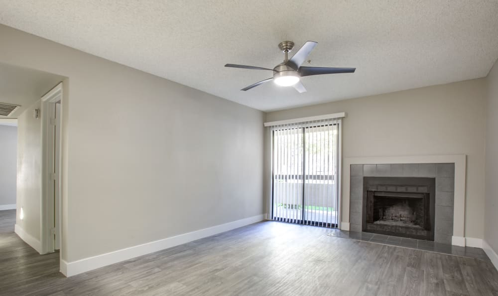 Fireplace and living room at apartments in Tempe, Arizona