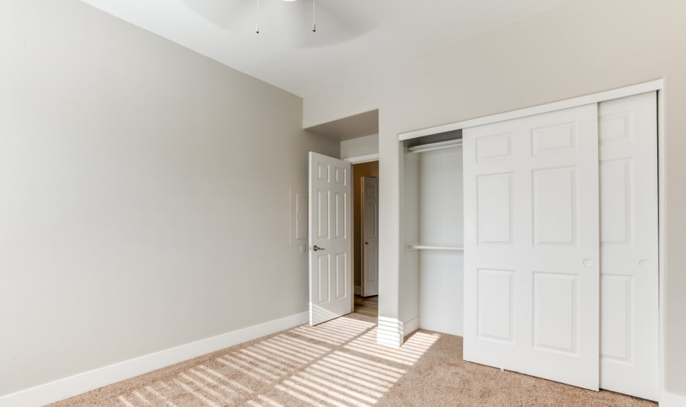 Plush carpet and a ceiling fan in the bedroom of an apartment home at Finisterra in Tempe, Arizona
