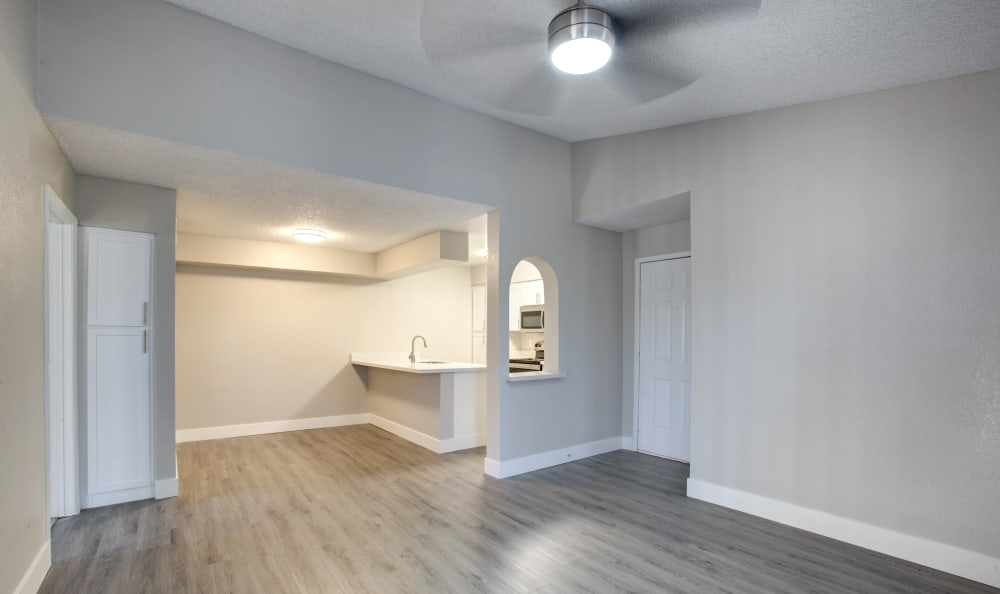 Corner view of living room with kitchen in the back in Tempe, Arizona