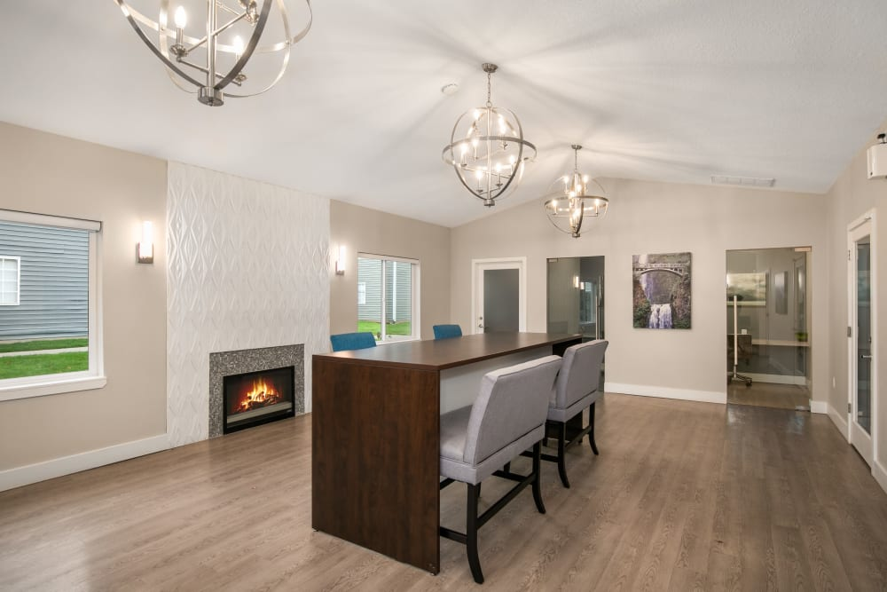 Stay connected in the community center at Walnut Grove Landing Apartments in Vancouver, Washington