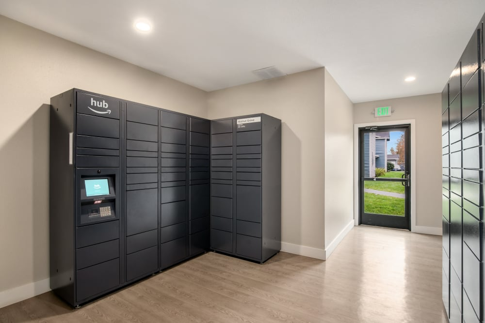 The convenient package room at Walnut Grove Landing Apartments in Vancouver, Washington