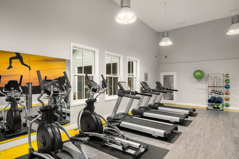Fitness center with plenty of individual workout stations at Walnut Grove Landing Apartments in Vancouver, Washington