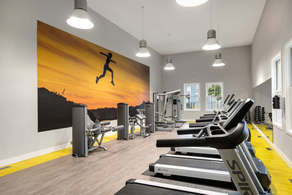 Clean, modern community gym at Walnut Grove Landing Apartments in Vancouver, Washington