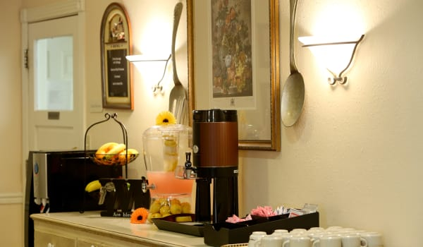 Coffee and snack bar at Azalea Estates of Shreveport in Shreveport, Louisiana.