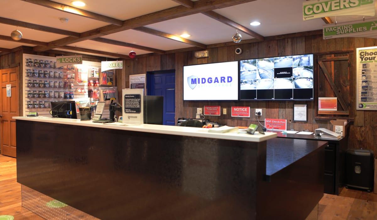 Leasing office at Midgard Self Storage in Cashiers, North Carolina