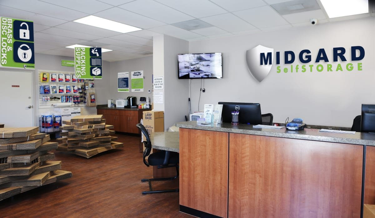 Leasing desk at Midgard Self Storage in Melbourne, Florida