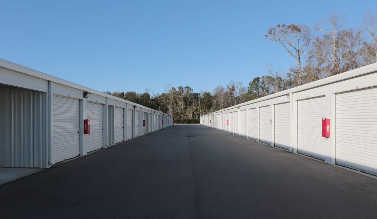 Drive up units at Midgard Self Storage in Wilmington, North Carolina